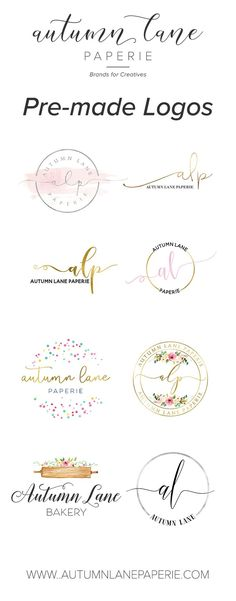 Affordable premade logo designs - feminine branding, premade brand, brand identity, small business, graphic design, logo design, brand package, bakery logos, florist logos, photography logos.