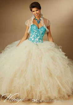 Ball Gowns Quinceanera Dresses Websites Colorful Appliques Turquoise Lace Puffy And Ruffles Champagne Tulle Sweetheart 2016 Debutante