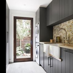 Make an entrance. The foyer at Beechwood. So much to love about this space. The strapping, steel balustrade, new front door by… Home, Kitchen Design, Laundry Design, Bathroom Interior, House, Laundry In Bathroom, Kitchens Bathrooms, House Interior, Modern Laundry Rooms