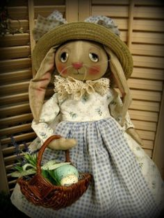 Primitive Folk Art Handmade Spring Easter Bunny Rabbit Doll