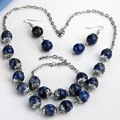 Lapis Lazuli Round Beads Bracelet Necklace Chain Dangle Hook Earrings Set