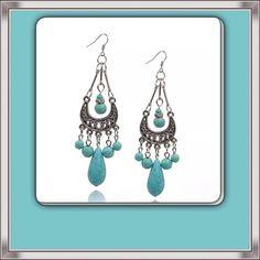 Silver Tibet & Turquoise Chandelier Earrings NEW Lovely Boho Earrings! NEW IN PACKAGE Jewelry Earrings