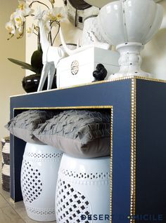 DIY Console Table Makeover – Pyramid stud trim is a great alternative to nailhead trim! Halls, Cute Dorm Rooms, Furniture Makeover, Room Inspiration, Home Goods, Blue And White, Navy Blue, Marine Blue, Indigo Blue