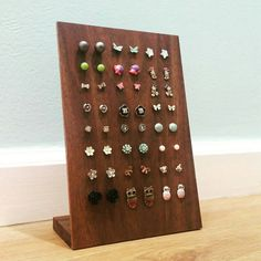 Wood Earring Display for Studs Solid Walnut