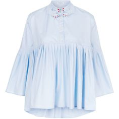 Vivetta Blue Cotton Bell Sleeve Blouse ($365) ❤ liked on Polyvore featuring tops, blouses, lightweight shirt, bell sleeve shirt, blue shirt, collared shirt and flat top
