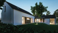 A pair of modern homes on adjacent sites, both unique, but designed to compliment each other and featuring a lovely mix of natural materials. House Designs Ireland, Bungalow Conversion, Modern Farmhouse, New Homes, Cottage, Exterior, Mansions, Architecture, House Styles