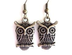 Owl Earings Antique Brass Unique Gift For Her Christmas Birthday Mothers Day Under 10 Item B4. $5.25, via Etsy.