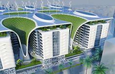 The ultimate green-building 'Gate Residence' futuristic billion-pound complex in Cairo, fitted with solar panels, wind turbines and more. Images © Vincent Callebaut The Gate Residence 1000 apartments… Green Architecture, Futuristic Architecture, Sustainable Architecture, Sustainable Design, Amazing Architecture, Landscape Architecture, Environmental Architecture, Pavilion Architecture, Chinese Architecture