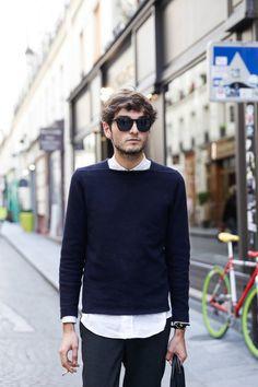 Street Style of Paris: COS Top/ Maison Martin Margiela Shirt/ Ermenegildo Zegna Pants/ PLAY COMME des GARÇONS Shoes | More photo at Fashionsnap.com