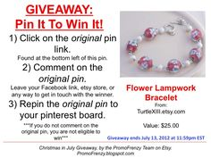 GIVEAWAY - Pin It To Win It: To Win This Item from TurtleXiii.etsy.com - follow the instructions: Click on ORIGINAL pin, comment leaving a way to contact you, REPIN the ORIGINAL Pin! Contest ends 7/13/12 @ 11:59pm EST. Winner announced 7/14/12.