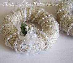 Burlap and Pearl Wreath Ornaments by Keepsakes By Katherine