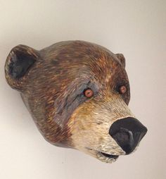 Paper mache bear head/ bear faux taxidermy/ by MrPolskysMenagerie