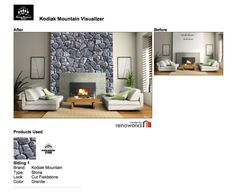 Click the link to visit the Kodiak Mountain Stone Visualizer Before & After Fireplace Fireplaces, Granite, Mountain, Stone, Link, Check, Blog, Log Fires, Fire Places