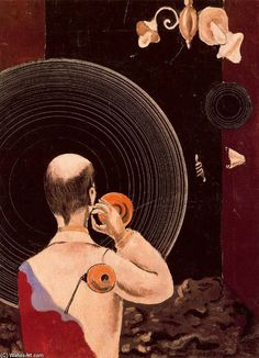 Max Ernst, Untitled (1922). Oil on canvas. 43.2 x 31.5 cm Thyssen-Bornemisza Collection, Lugano-Castagnola, Madrid, Spain. Example of his Dada style.