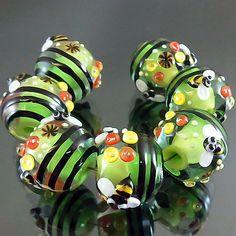 PIKALDA=handmade lampwork 7 glass beads bee colorful bee bubble=HARVEST=SRA