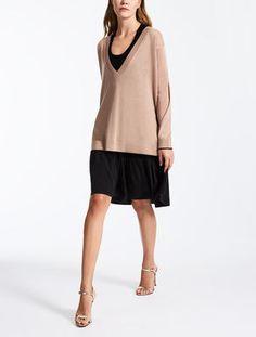 Vestido de seda y lana