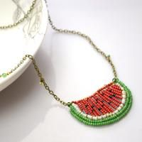 Seed Bead Necklace Tutorial - How to Make a Seed Bead Watermelon Necklace