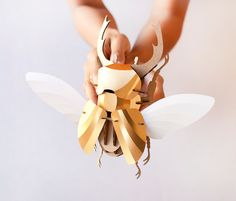 """Netherlands-based company Assembli recently released these cool DIY beetle sculpture kits. """"The flat-pack model kits are available in three different beetle species including Stag, Hercules,… 3d Paper Crafts, Diy Paper, Bug Crafts, Skeleton Parts, 3d Puzzel, Carton Diy, Puzzles 3d, Cardboard Sculpture, Paper Sculptures"""