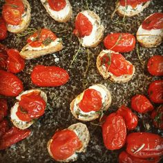 Crostini with ricotta and oven roasted tomatoes