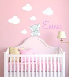 Custom Name Baby Elephant And Clouds - Animal Series - Baby Girl - Nursery Wall Decal For Baby Room Decorations - Mural Wall Decal Sticker For Home Children's Bedroom Clouds Nursery, Elephant Nursery, Nursery Wall Decals, Wall Decal Sticker, Baby Elephant, Girl Nursery, Wall Murals, Nursery Ideas, Room Ideas