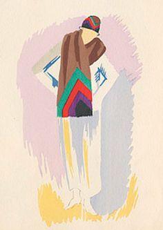 Fashion illustration by Sonia Delaunay, 1922-23.
