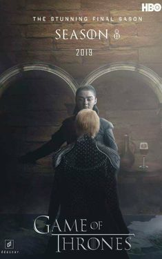 GoT Game of Thrones final Season 8 HBO advertising poster for tv series. Arya Stark and Cersei Lannister.