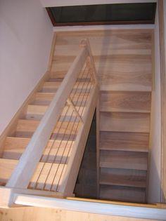 Escalier b ton gris liss 2 4 tournant nez de marche carr garde corp - Escalier 2 quart tournant avec palier ...
