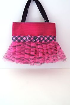 Pink and Black Tutu Tote Bag with Matching Bow on Etsy, $25.00
