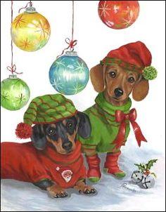 Dachshund Christmas Cards