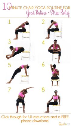 10 Minute Chair Yoga Routine for Good Posture and Stress Relief | Once you're done with this routine, you'll feel some of the pent up stress in your muscles from sitting down melt away and you'll be ready get some more work done! Click through for a FREE