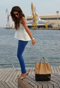 White Shirt with Blue Jeans, Suitable White Watch Brown Hand Bag