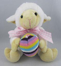 Atico White Stuffed Lamb Plush Animal w Easter Egg Pink White Checked Bow | eBay