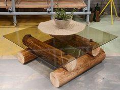 te dejo una idea para hacer una mesa rustica con la base hecha de troncos de arboles