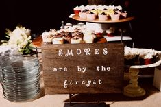 smores bar bonfires, chocolates, country weddings, apple cider, southern weddings, wedding cakes, campfires, winter weddings, dessert bars