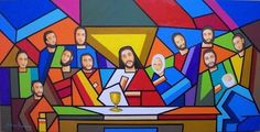 Ultima cena Catholic Crafts, Catholic Art, Religious Art, Colorful Paintings, Easy Paintings, Pop Art, Jesus Art, Last Supper, Arte Pop