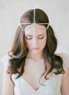 Rhinestone crystal flapper headpiece, bohemian headdress | Twigs & Honey ®, LLC