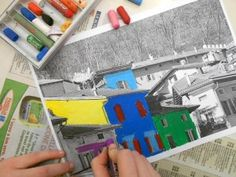 fauvist landscapes: take photos of your own town and color on top of the printed photo with oil pastel, using bright, pure colors and outlining in black.