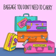 Starting the journey by letting go of baggage. Illustration from newbeginnings letgo anxiety past trauma baggage mentalhealthawareness mentalhealth blissout Note To Self, Self Love, Positive Vibes, Positive Quotes, Positive Mindset, Coping Skills, Life Lessons, Carry On, Letting Go