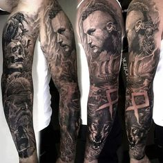 ▷ 1001 cool and realistic Viking tattoos for inspiration - tattoo-nordic-wolf-bird-skull-ragnar tattoo sleeve -
