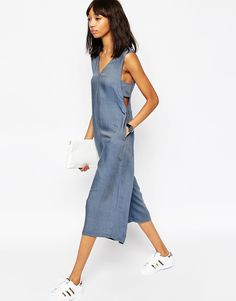 Image 4 of ASOS Chambray Jumpsuit with Banded Sides and Culotte Leg