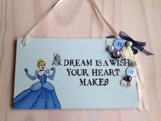 Cinderella Plaque, Disney Princess Sign, Beautiful Blue Home Decor With Buttons, Pearls & A Rose, For Weddings, Newborn, Girls Gift