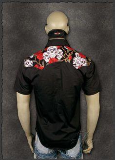 Casual Red Roses Skull Bowling Billard Darts Men's Rockabilly Punk Rock Shirt - Shirts | RebelsMarket