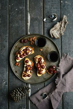Pomegranate Roasted Grapes on Bruschetta with Soft Feta and Caramel Walnuts: From the Kitchen