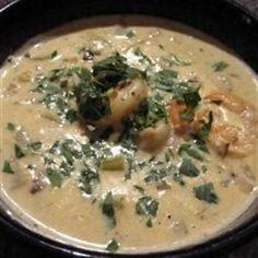 Shrimp Chowder: needs cream cheese, milk, dry white wine