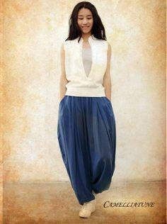 Loose Casual Blue Harem Pants / Extravagant Blue Pants/Yoya pants / Wide Leg Trousers on Etsy, US$68,00