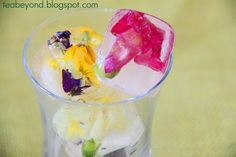 Tea Beyond: Healthy recipes-Flower in ice (Green tea ice cubes, sugarless, eggless, saltless, vegan)