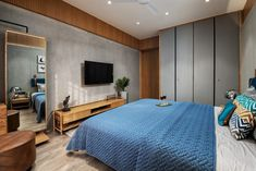 Apartment Interior Designed With Calm And Relaxed Elegance Bedroom Wall Designs, Bedroom Furniture Design, Bedroom Layouts, Home Room Design, Master Bedroom Design, Modern Bedroom, Bedroom Decor, House Furniture, Kids Bedroom