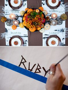 7. DIY Thanksgiving place mats Professional painting skills not required for this personalized Thanksgiving table. All you need is some white paper, painters tape and a little paint. Click here to make your own personalized place mats. http://www.weddingchicks.com/modul/trending-331-79146-10-easy-thanksgiving-tips-_and_-tricks-l-32-l-22.html