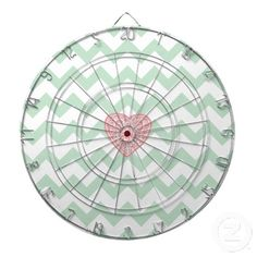 Cool gift for teens - #MintGreen #Chevron + #Pink Swirly #Heart #Dartboard With Darts by #ShaleceElynne $66.35 www.zazzle.com/shaleceelynne* #cool #teen #gifts #trendy #games #CollegeDorm