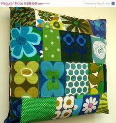 Patchwork Pillow / Cushion Cover - Blue Green Vintage Retro Fabrics - Unique
